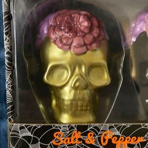 NIB SKULL 💀 SALT & PEPPER SHAKERS-goth-Halloween?